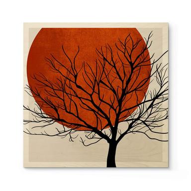 Holzposter Kubistika - Warmer Sonnenuntergang - Quadratisch