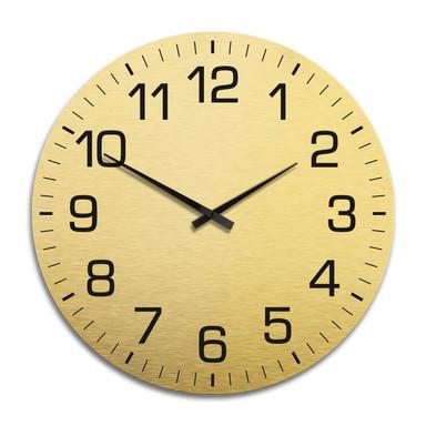 XXL Wanduhr Alu Dibond Goldeffekt - Klassisch mit Minutenanzeige Ø 70cm - Bild 1