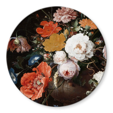 Glasbild Mignon - Stillleben mit Blumen und einer Uhr - Rund
