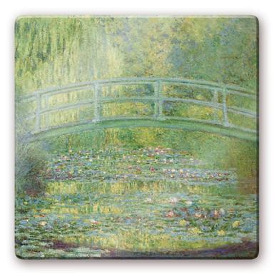 Glasbild Monet - Seerosenteich und japanische Brücke