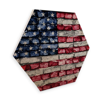 Hexagon - Holz Birke-Furnier - Stars and Stripes Mauer