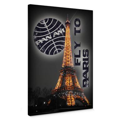 Leinwandbild PAN AM - Paris Eiffelturm beleuchtet