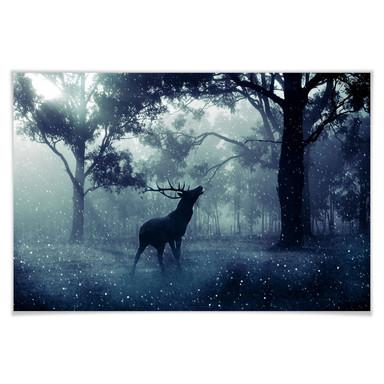 Poster Hirsch im Morgenwald