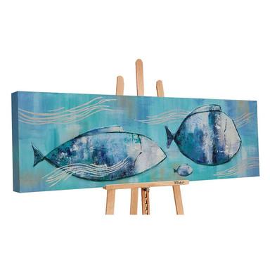 Acryl Gemälde handgemalt Reisende Fische 150x50cm - Bild 1