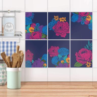 Fliesenaufkleber Set rechteckig - Blumenmuster