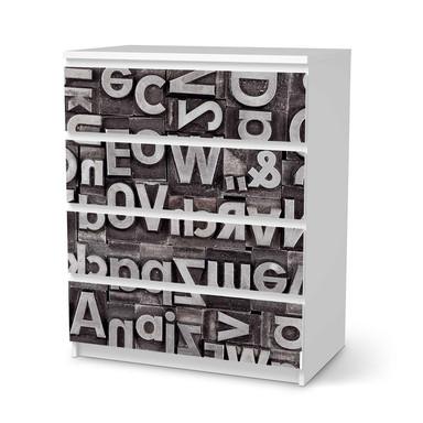Folie IKEA Malm Kommode 4 Schubladen - Alphabet- Bild 1