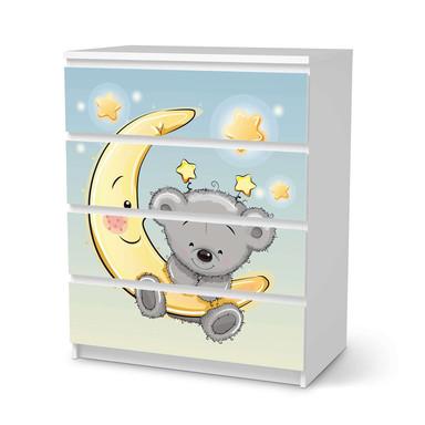 Folie IKEA Malm Kommode 4 Schubladen - Teddy und Mond- Bild 1