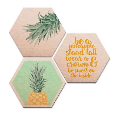 Hexagon - Alu-Dibond-Kupfereffekt - Ananas (3er Set)