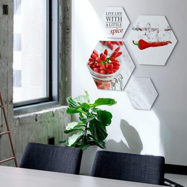 Hexagon - Alu-Dibond - Scharfes Chili (4-teilig) - Bild 1