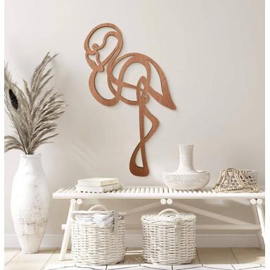 Holzdeko Mahagoni - Line Art - Flamingo