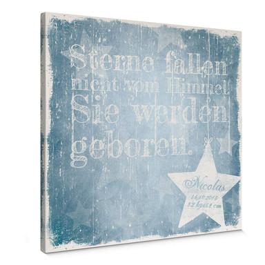 Leinwandbild Wunschtext & Name - Sterne fallen nicht vom Himmel (blau)