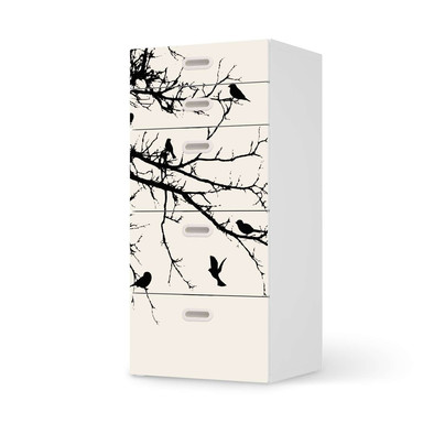 Möbel Klebefolie IKEA Stuva / Fritids Kommode - 5 Schubladen - Tree and Birds 1
