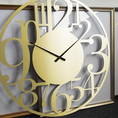 XXL Wanduhr Alu-Dibond-Goldeffekt - Modern - Ø 70cm - Bild 1