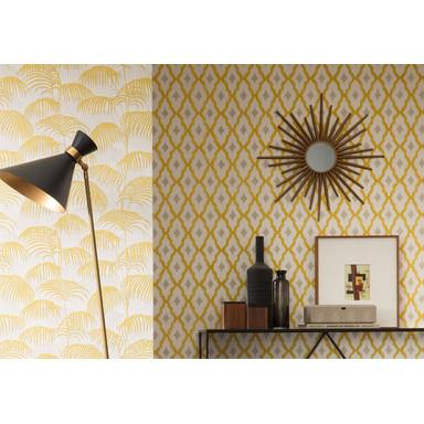 Architects Paper Mustertapete Textiltapete Tessuto 2 Gelb, Metallic, Weiss