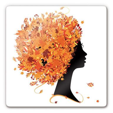 Glasbild Herbst Blätterhaar