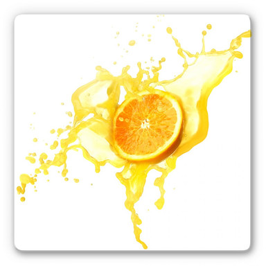 Glasbild Splashing Oranges - quadratisch