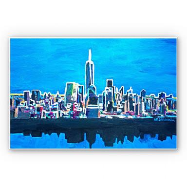 Hartschaumbild Bleichner - New York City im Neonschimmer