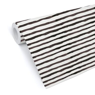 Mustertapete - Aquarell Streifen 01 - schwarz-weiss