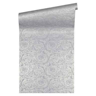 Versace wallpaper Vliestapete Barocco Metallics Tapete metallic silber