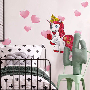 Wandsticker Filly Unicorn Romance Leaf