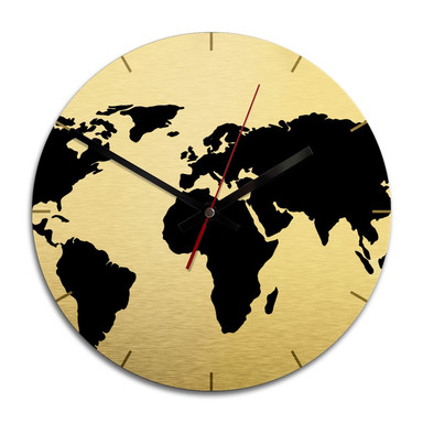 Wanduhr Alu-Dibond-Goldeffekt - Weltkarte - Ø 28cm - Bild 1