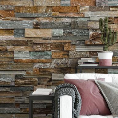 Fototapete Papiertapete Colorful Stone Wall - 366x254cm - Bild 1