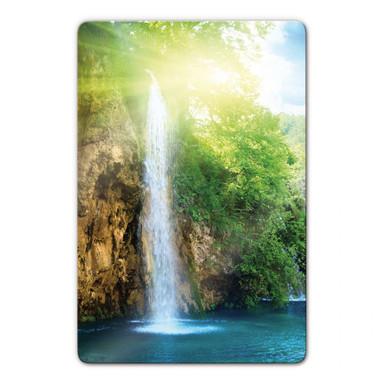 Glasbild Blue Waterfall
