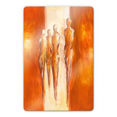 Glasbild Schüssler - Vier Figuren in Orange 02