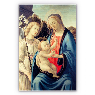 Hartschaumbild Botticelli - Madonna mit Kind und einem Engel