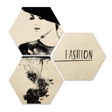Hexagon - Holz Birke-Furnier - Fashion Mode (3er Set)