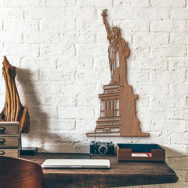 Holzkunst Mahagoni - Freiheitsstatue