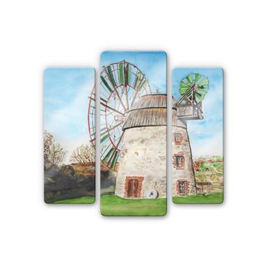 Glasbild Toetzke - Holländerwindmühle (3-teilig)