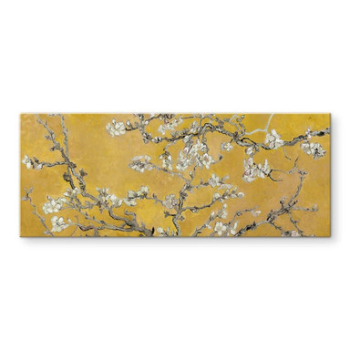 Glasbild van Gogh - Mandelblüte Ocker - Panorama