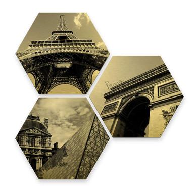 Hexagon - Alu-Dibond-Goldeffekt - Impression of Paris (3er Set)