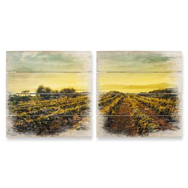 Holzbild Weinreben im Sonnenuntergang (2-teilig)