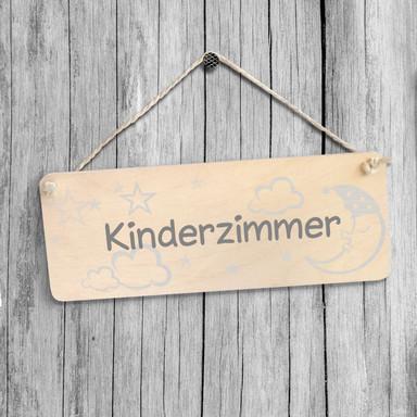 Holzschild Kinderzimmer mit Sisalseil