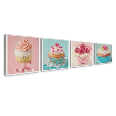 Leinwandbild Cupcakes Set (4-teilig)