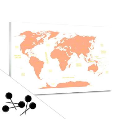 Pinnwand Weltkarte - orange