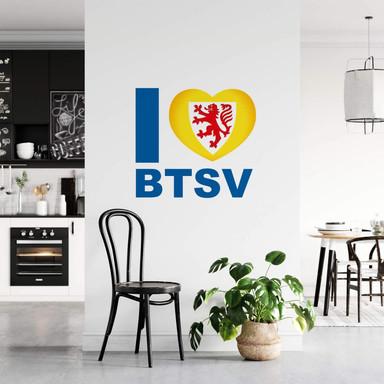 Wandsticker Eintracht Braunschweig I love BTSV