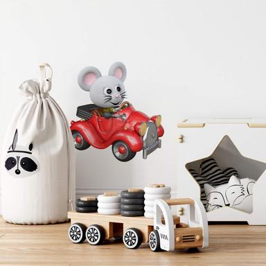 Wandtattoo Agullo - Maus im roten Auto