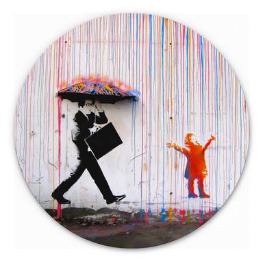 Alu-Dibond Banksy - Coloured Rain - Rund