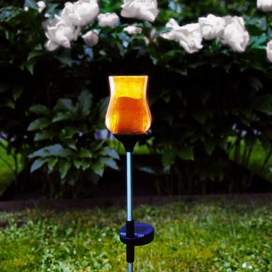 Erdspiessleuchte Lyon in amber, 530 mm, inkl. Sensor und LED