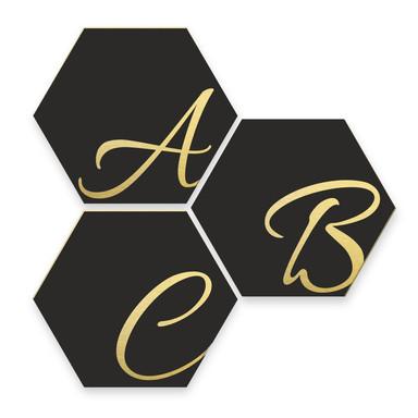 Hexagon Buchstaben - Alu-Dibond Goldeffekt - Schwarz