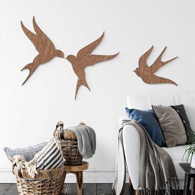 Holzdeko Mahagoni Vögel (3-teilig)