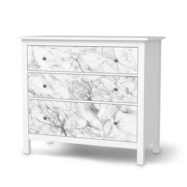 Möbelfolie IKEA Hemnes Kommode 3 Schubladen - Marmor weiss