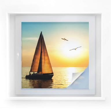 Sichtschutzfolie Segelboot im Sonnenuntergang - quadratisch
