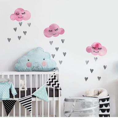 Wandtattoo Watercolor Wolken rosa & graue Herzen