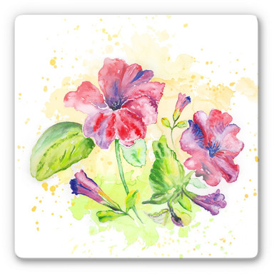 Glasbild Toetzke - Leuchtender Blütenkelch - quadratisch