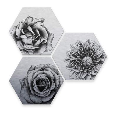 Hexagon - Alu-Dibond Silbereffekt Kools - Flowery 3er Set