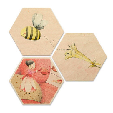 Hexagon - Holz Birke-Furnier - Loske - Däumelinchen (3er Set)